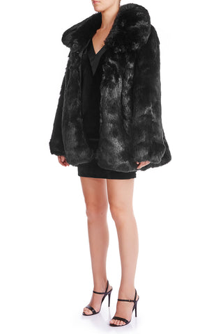 SKYE Oversized Faux Fur Coat - RAVEN - HAUS OF SONG