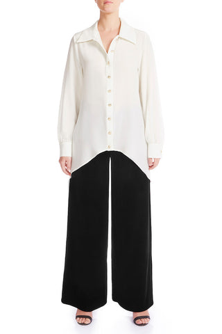 CLASSY Silk Crêpe De Chine Shirt - IVORY - HAUS OF SONG