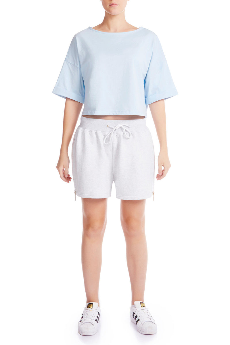 The HS Cropped Tee - SOFT BLUE | HAUS OF SONG