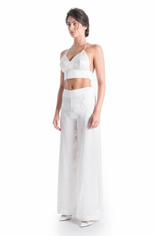 CLAIRE Silk Satin Wide Leg Trouser | HAUS OF SONG