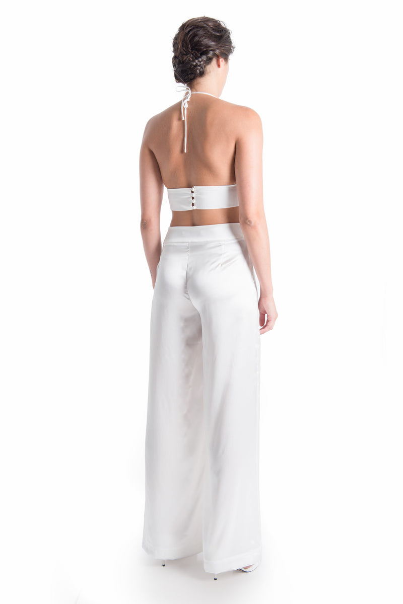 CLAIRE Silk Satin Wide Leg Trouser | SAMPLE - HAUS OF SONG