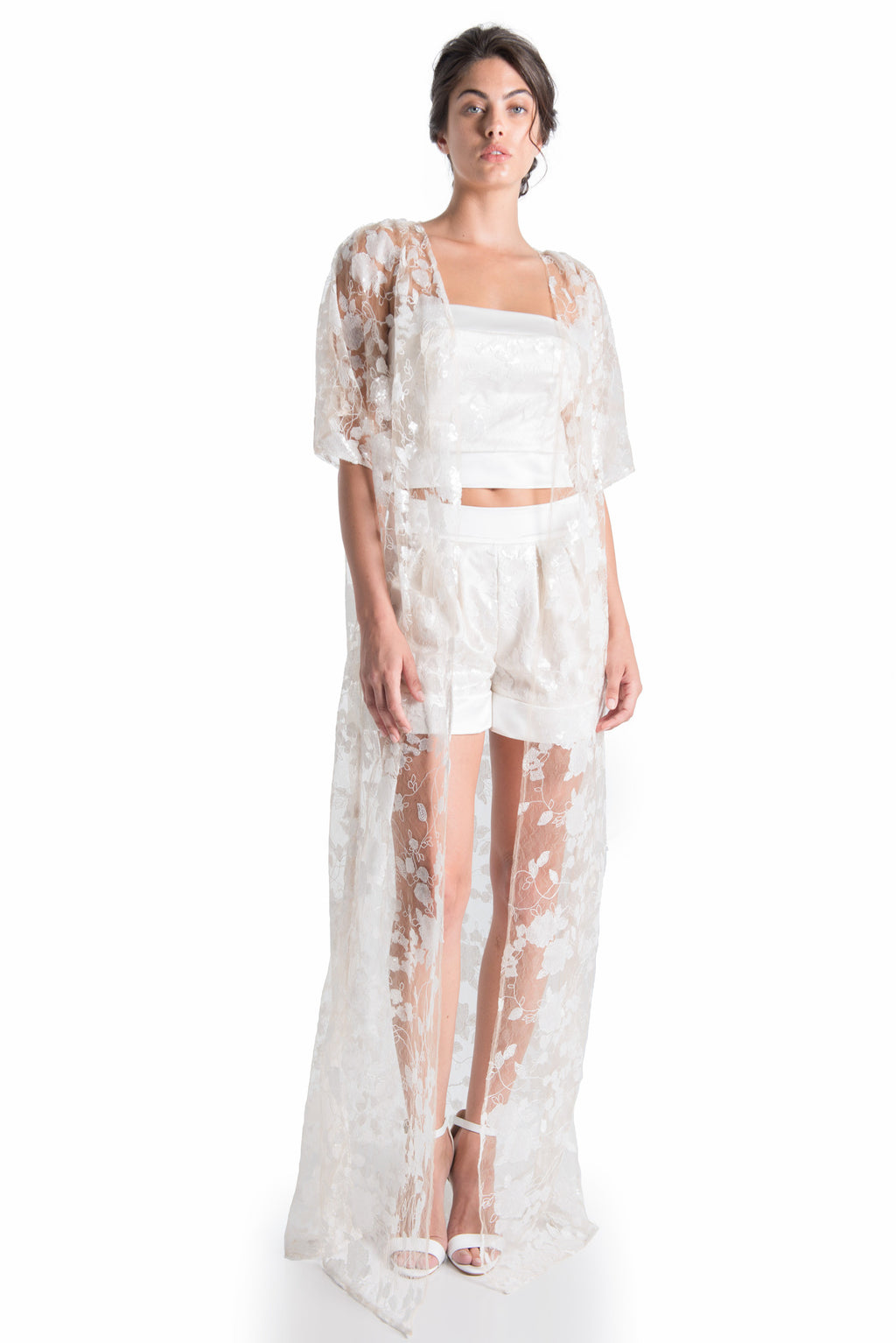 VENETIAN Lace Kimono - NATURAL WHT | SAMPLE - HAUS OF SONG
