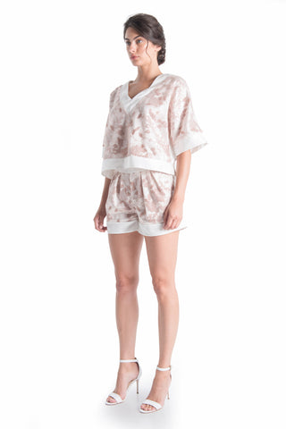 Fleur Oversized Silk Top - ROMANTIC DUSTY | HAUS OF SONG