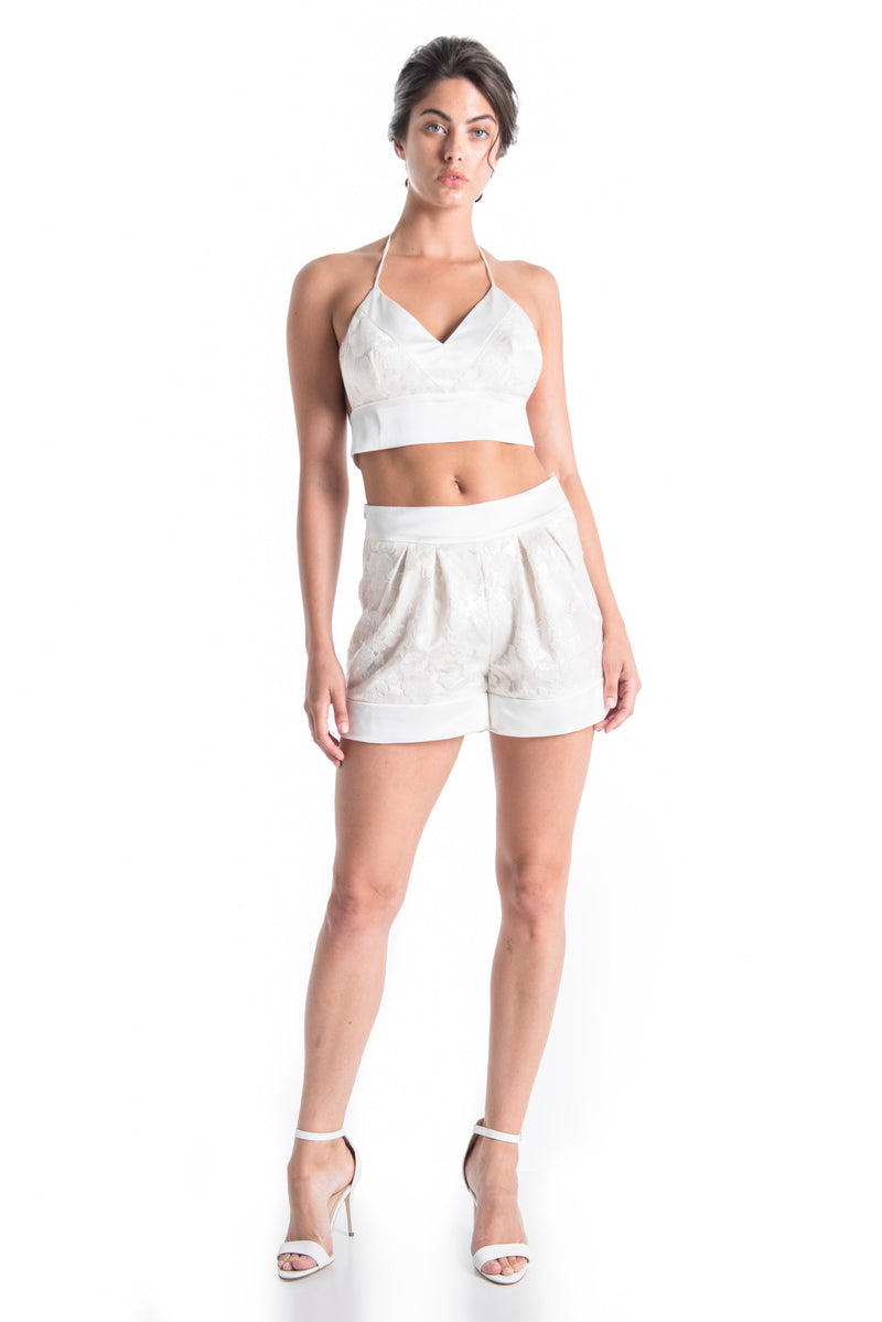 OLIVIA Lace Satin Shorts - NATURAL WHT | SAMPLE - HAUS OF SONG