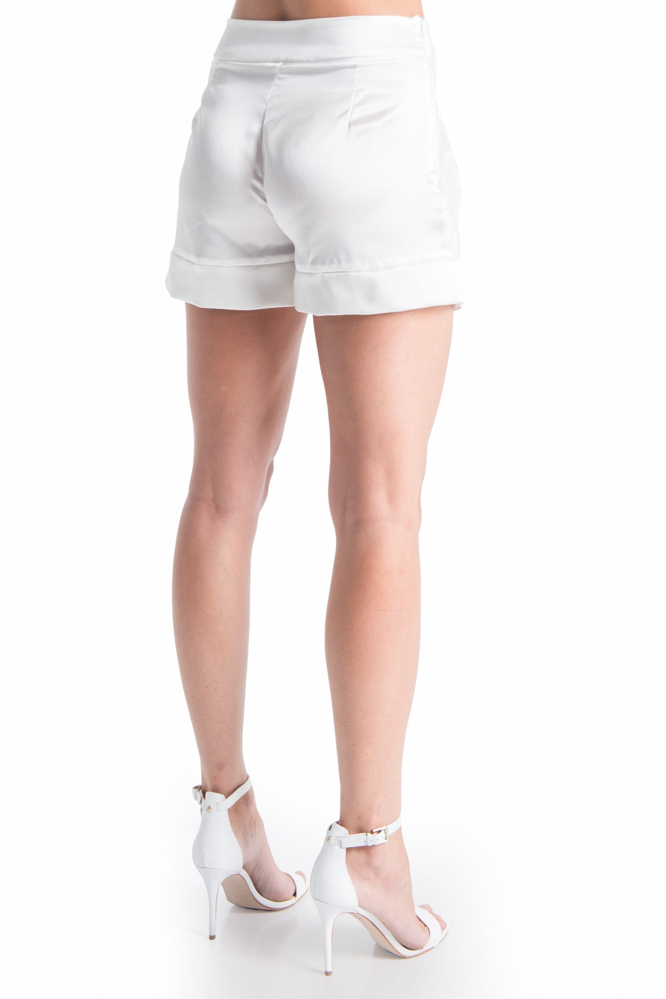 OLIVIA Lace Satin Shorts - NATURAL WHT | HAUS OF SONG