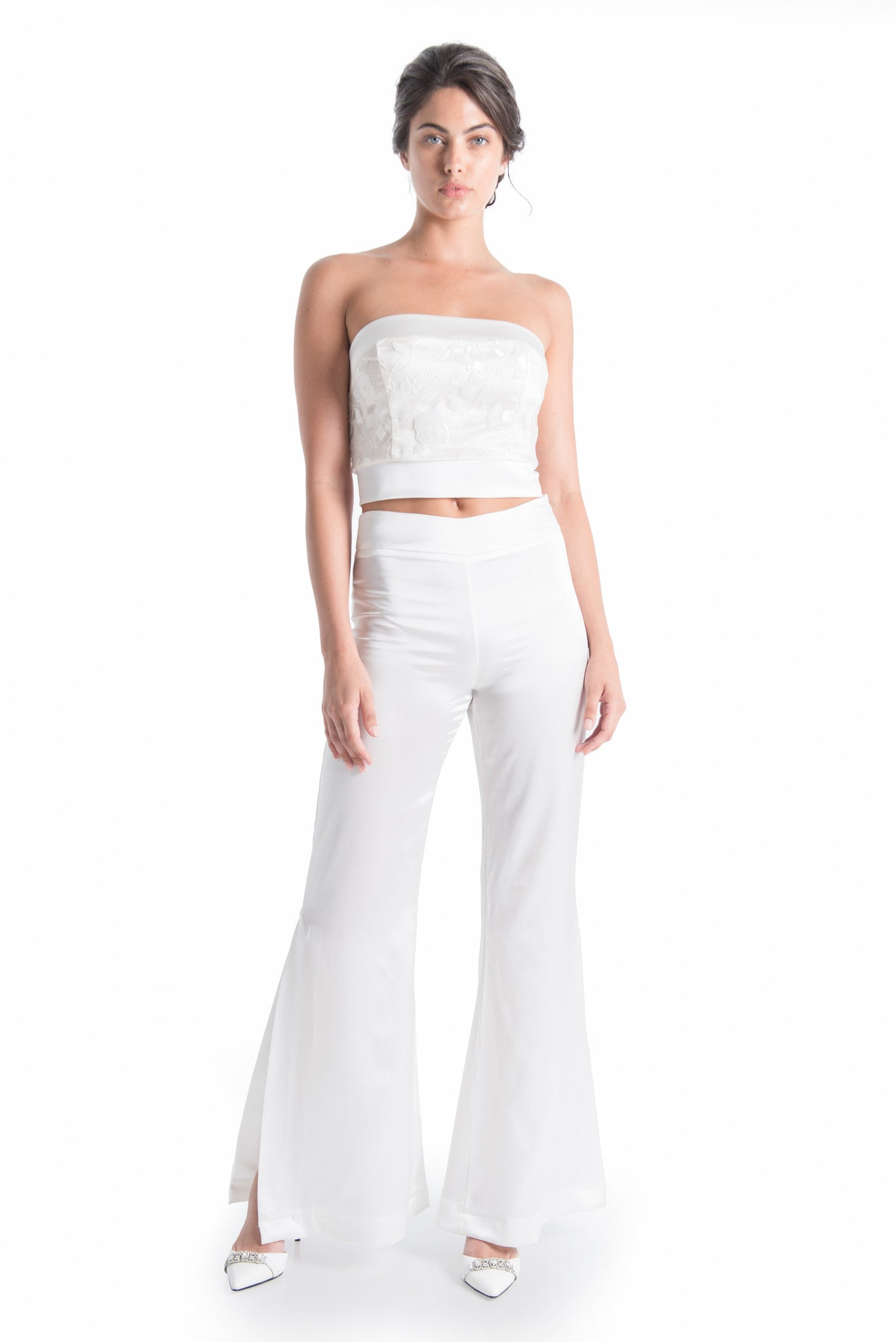 MIRA Silk Side Slit Flared Trouser | HAUS OF SONG
