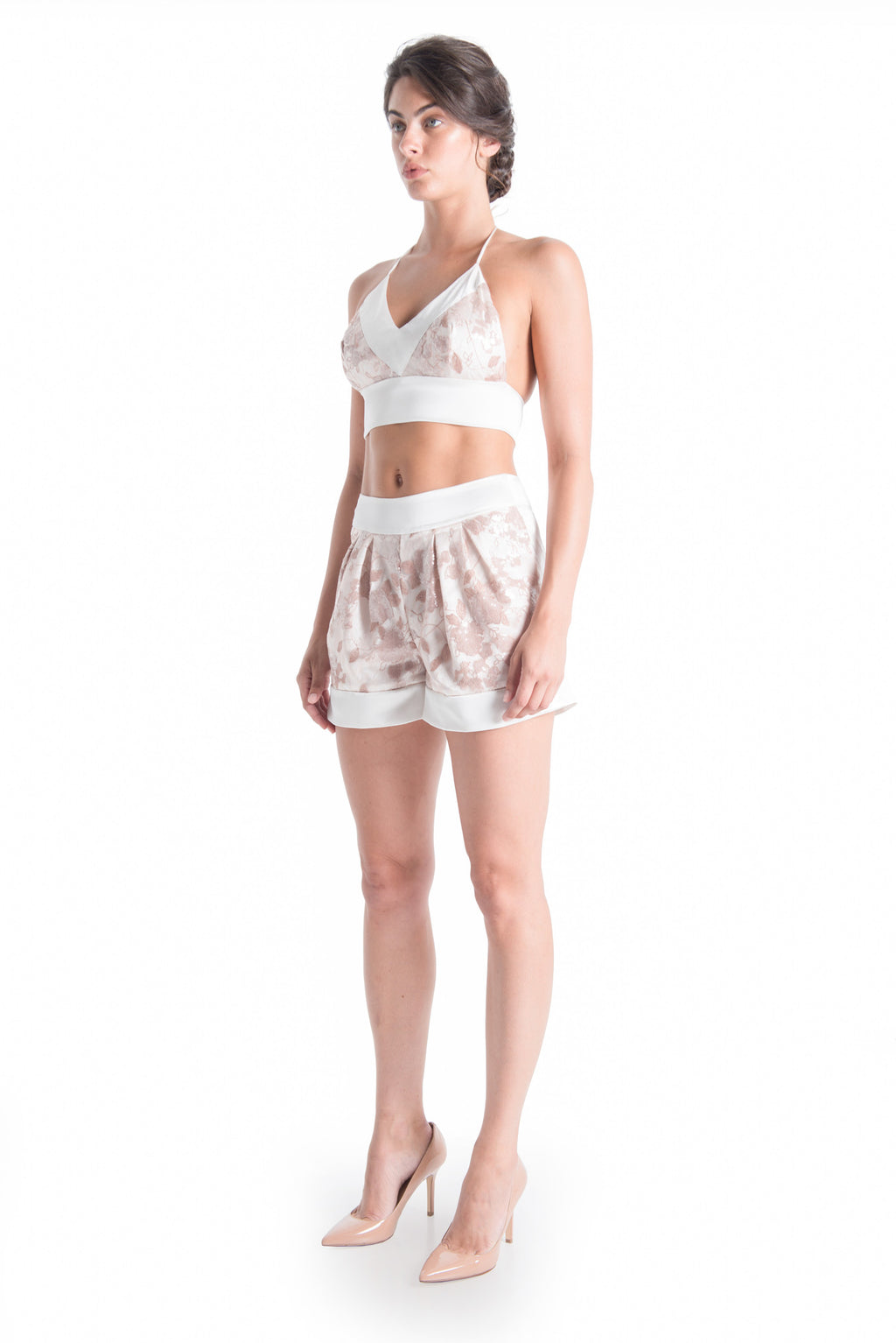 OLIVIA Lace Satin Shorts - ROMANTIC DUSTY | SAMPLE - HAUS OF SONG
