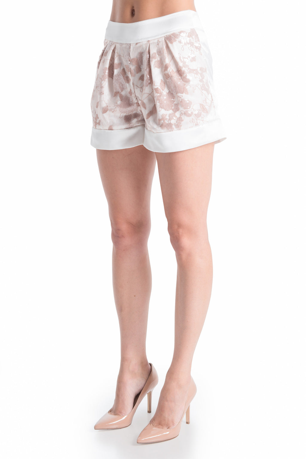 OLIVIA Lace Satin Shorts - ROMANTIC DUSTY | SAMPLE | HAUS OF SONG