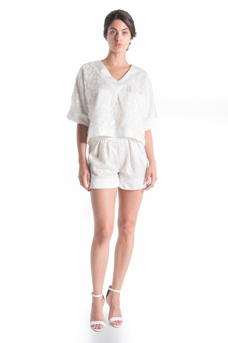 FLEUR Oversized Silk Top - NATURAL WHT | SAMPLE | HAUS OF SONG