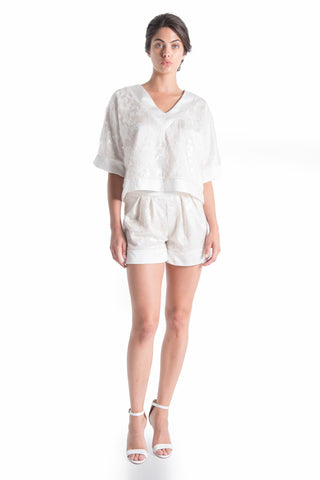 FLEUR Oversized Silk Top - NATURAL WHT | HAUS OF SONG