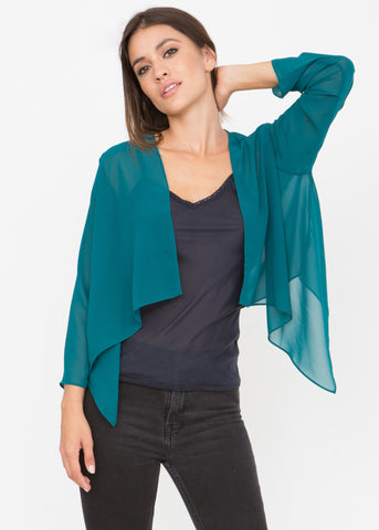 Sheer Chiffon Shrug Bolero Teal