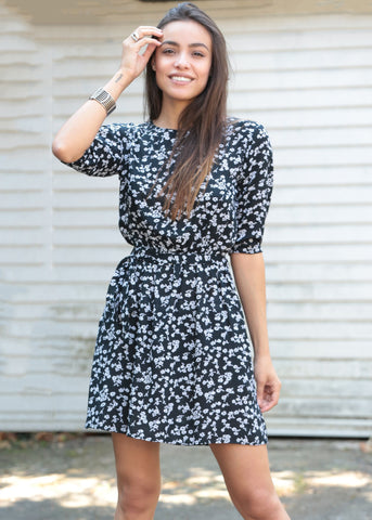 Skater Dress in Floral Print Black