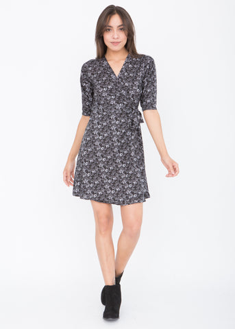 V-Neck Wrap Dress with 3/4 Sleeves in Florals Print Grey