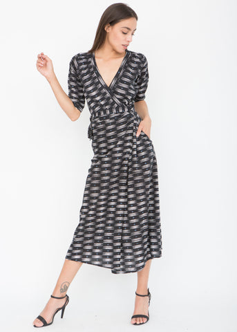Allover Print 3/4 Sleeves Wrap Dress
