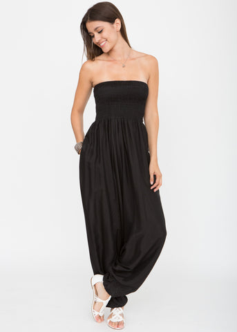 Silk Look Maxi Harem Trouser Jumpsuit Black