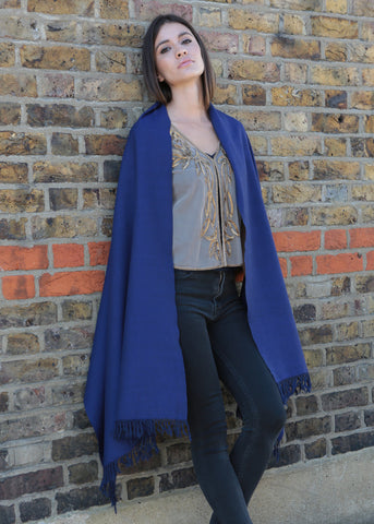 Handwoven Pashmina & Blanket Scarf in Blue Twill Mix Weave 75 X 200cm