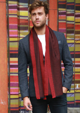 Handwoven Oversize Scarf with Textured Bordeaux Border