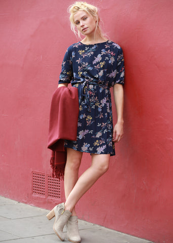 Skater Dress in Floral Print Blue