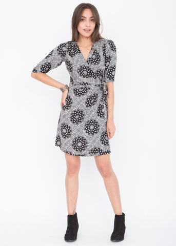 Paisley Print Wrap Dress with 3/4 sleeves