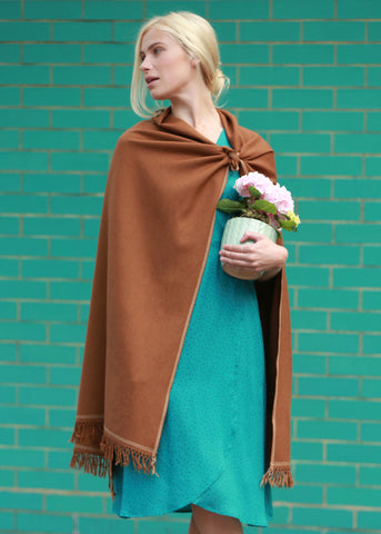 Shoreditch Merino Handwoven Pashmina and Blanket Scarf Spice Brown