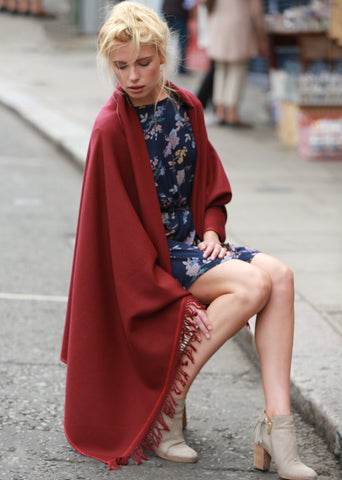 Shoreditch Merino Handwoven Pashmina and Blanket Scarf Bordeaux