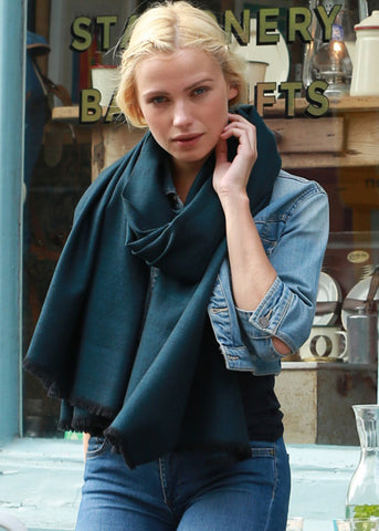 Handwoven Pashmina & Blanket Scarf in Teal Twill Mix Weave 100 X 200cm