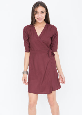 Burgundy Wrap Dress with 3/4 sleeves