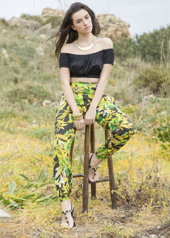 Relaxed Harem Pants Tropical Print