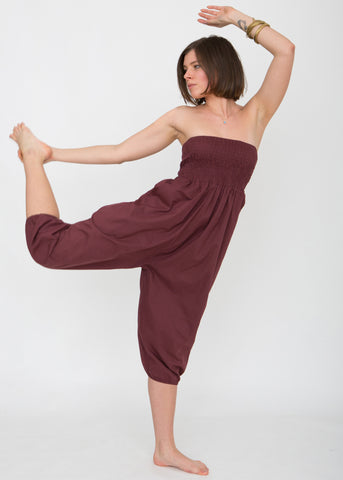 2 in 1 Cotton Harem Trouser or Bandeau Jumpsuit Burgundy