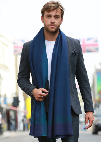 Herringbone Handwoven Textured Merino Wool Scarf Blue