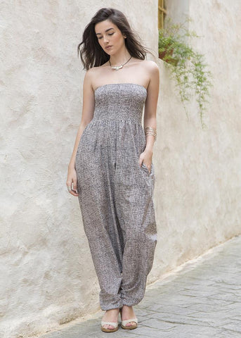 2 in 1 Maxi Harem Pants and Jumpsuit in Limestone Print