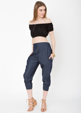 Cropped Harem Pants in Summer Denim