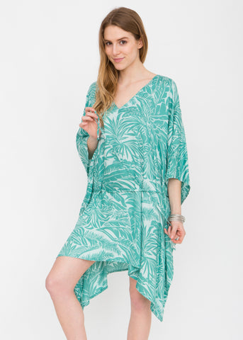 Tropical Aqua V Neck Kaftan