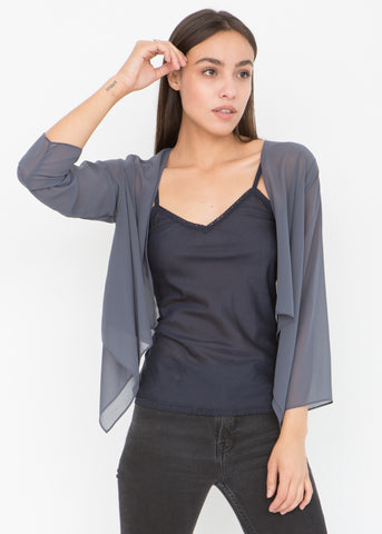 Sheer Chiffon Shrug Bolero Grey