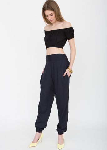 Relaxed Harem Pants Navy