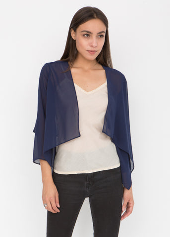 Sheer Chiffon Shrug Bolero Blue