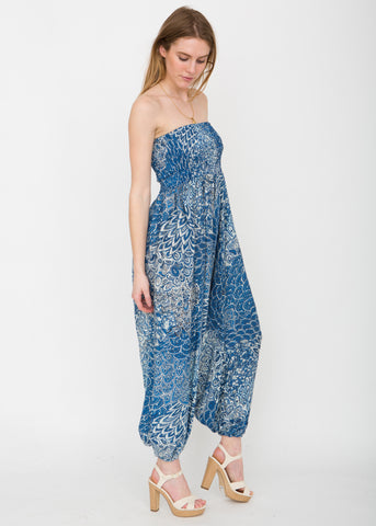 Peacock Print 2 in 1 Harem Trouser Jumpsuit Ocean Blue