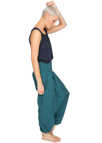 2 in 1 Cotton Harem Trouser or Bandeau Jumpsuit Teal