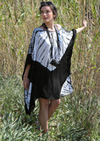 Boat Neck Kaftan in Black with Tie Dye