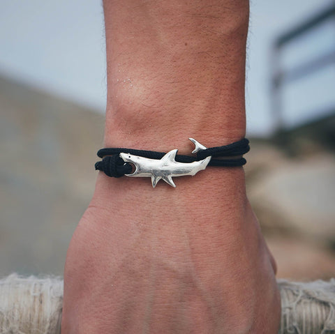 Original adjustable Cape Clasp  Great White Shark bracelet, made on Cape Cod. 15% profits donated to Atlantic White Shark Conservancy.