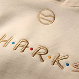 Cape Clasp Sharks Are FRIENDS Sweatshirt embroidery close up