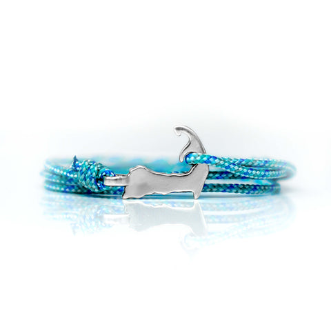 Cape Clasp Cape Cod Bracelet with light blue reflective cord supporting Cape Cod Times Needy Fund