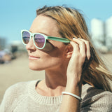 Cape Clasp - Tikós - First Mates -100% Recycled Ocean Plastic Polarized Sunglasses - Supports National Park Foundation - Blue Teal Sunnies Mirrored Lenses