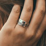 Cape Clasp Whale Ring Silver on hand