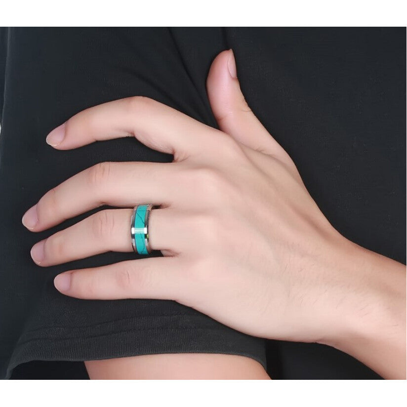 Awesome Brand New Tungsten Carbide Turquoise Hippie Chic Ring - HippieRoad - 2