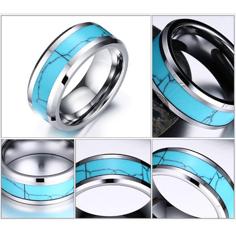 Awesome Brand New Tungsten Carbide Turquoise Hippie Chic Ring - HippieRoad - 5