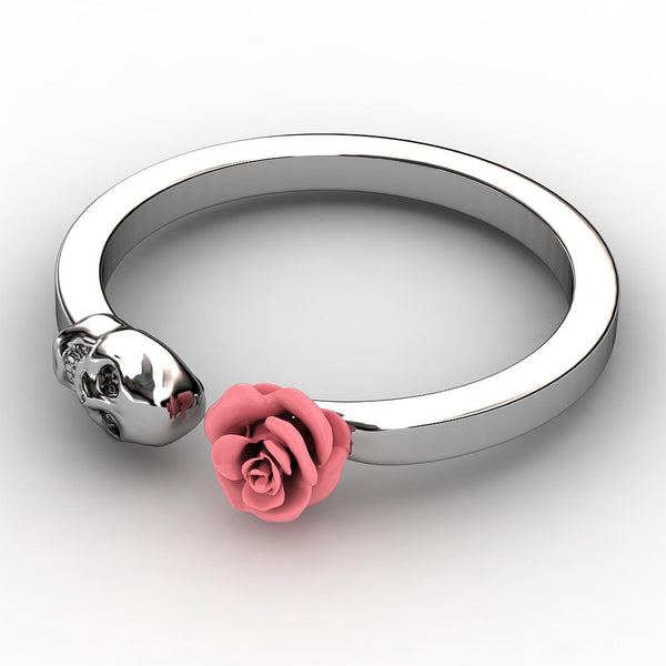 SKULL INLAID PINK ROSE STAINLESS STEEL RING OFFER