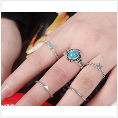5 Hippie Turquoise Antique Silver Rings - HippieRoad - 1