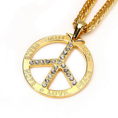 Gold/Silver Peace Sign Necklace with Crystals