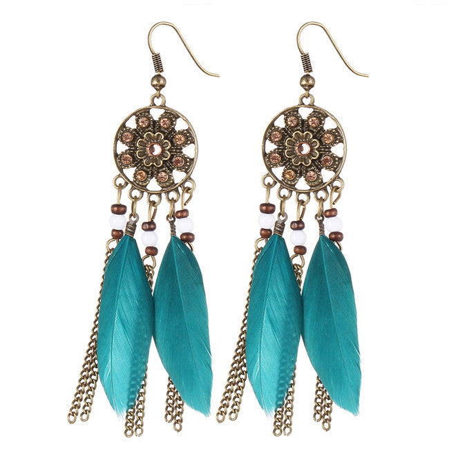 Dream Catcher Long Feather Drop Earrings - HippieRoad - 1